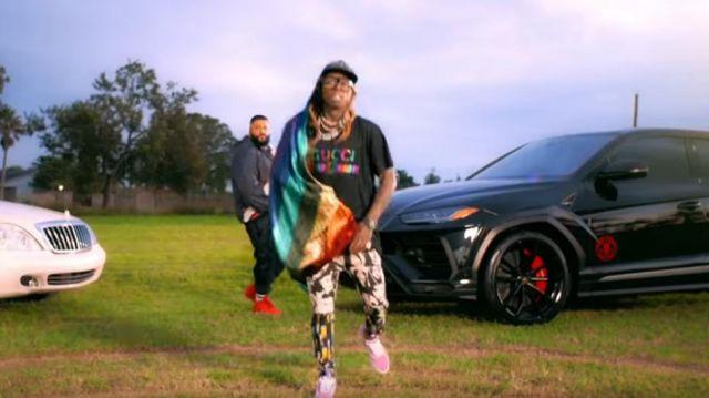 Gucci GG Jacquard Shawl worn by Lil Wayne in the YouTube video DJ Khaled - Jealous ft. Chris Brown, Lil Wayne, Big Sean (Lyrics)
