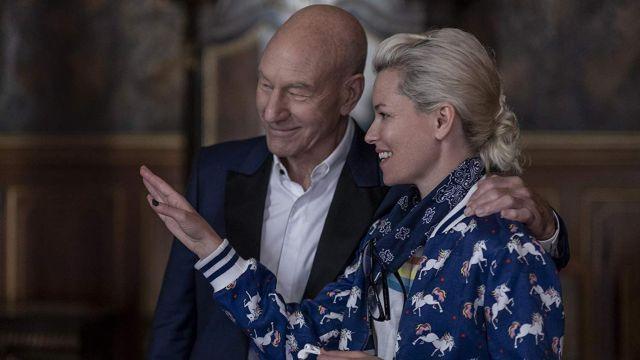 Alice + Olivia Unicorn printed bomber jacket in blue of Bosley (Elizabeth Banks) as seen in Charlie's Angels