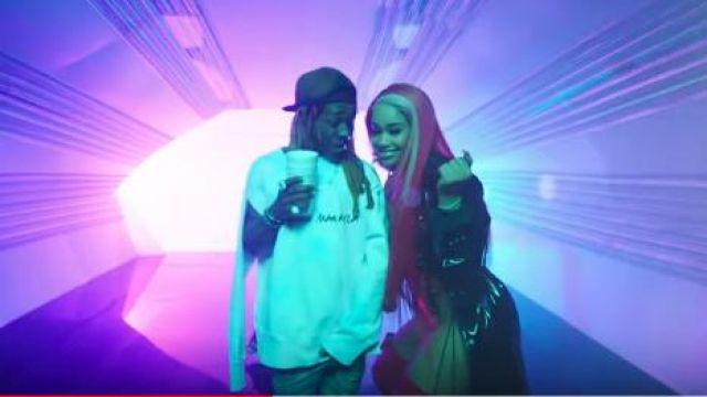 Maison margiela Logo Embellished Tie Dye Cape Sweatshirt worn by Lil Wayne in the YouTube video Kid Ink - YUSO (Official Video) ft. Lil Wayne, Saweetie