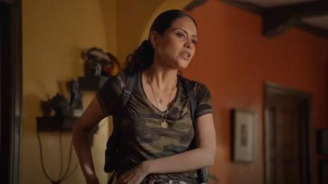 Lucky Brand Green Camo-Print T-Shirt worn by Angela Lopez (Alyssa Diaz) in The Rookie Season 2 Episode 7