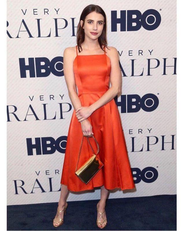 Ralph Lauren Collection Kyrah Silk Fit & Flare Dress worn by Emma Roberts Very Ralph Premiere November 11, 2019