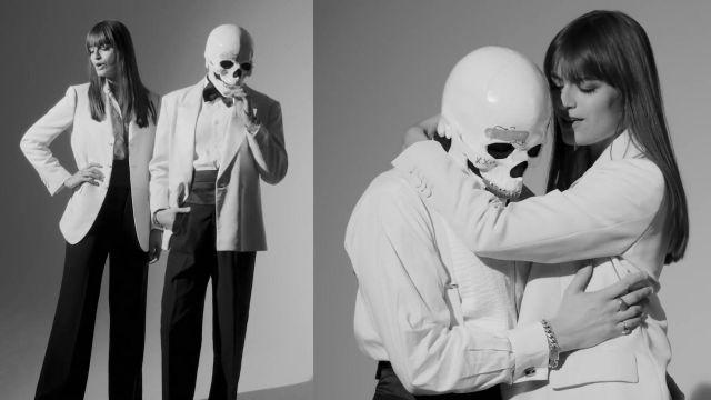 Le blazer blanc de Clara Luciani dans Clara Luciani et Vladimir Cauchemar - La chanson de Delphine (Clip officiel)