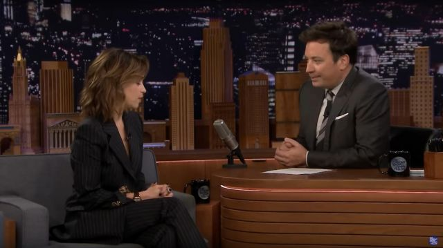 Dolce & Gabbana Pinstripe Tailored Trousers worn by Emilia Clarke on The Tonight Show Starring Jimmy Fallon October 31, 2019