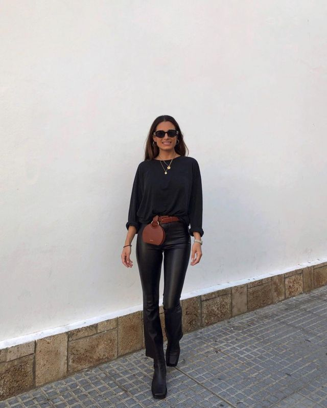 Leather Black Pants of Maria Teresa Valdes on the Instagram account @marvaldel