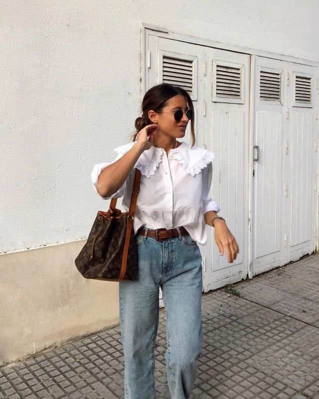 White Blouse of Maria Teresa Valdes on the Instagram account @marvaldel
