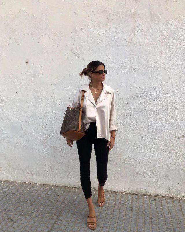 Beige Satin Blouse of Maria Teresa Valdes on the Instagram account @marvaldel