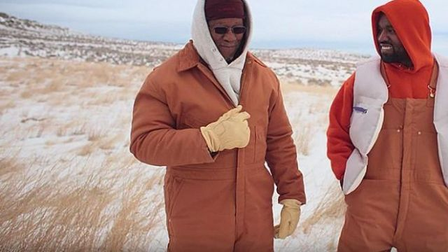 Tan work gloves of Ray West in Kanye West - Follow God