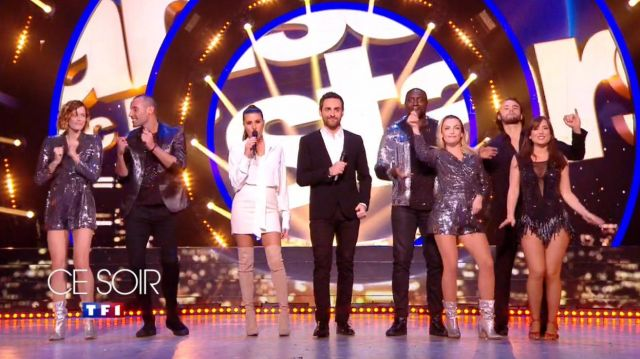 The boots thigh-high boots beige Karine Ferri on Dancing with the Stars