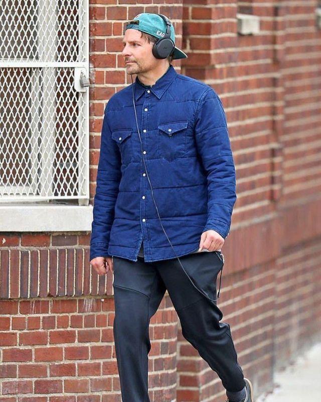 Madewell Quilted Indigo Denim Jacket worn by Bradley Cooper
