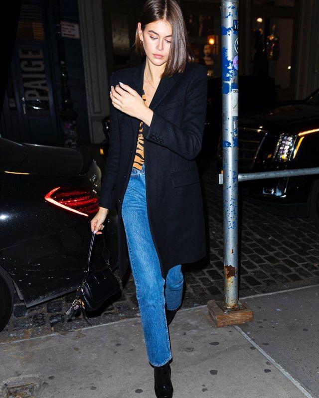 Prada Patent Leather Boots worn by Kaia Jordan Gerber New York City November 16, 2019