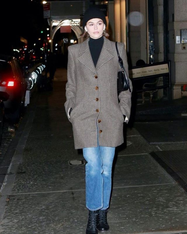 Frye Alice Combat Leather Boots worn by Kaia Jordan Gerber New York City November 17, 2019