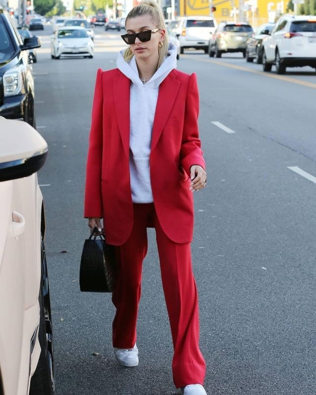 Staud Frida Crocodile Embossed Bag worn by  Hailey Bieber Beverly Hills December 2, 2019