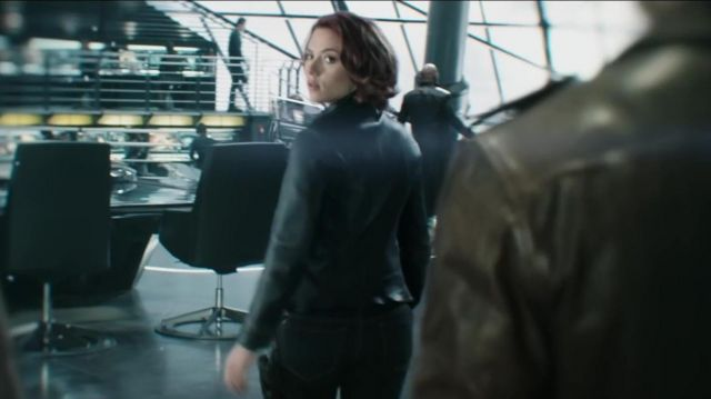 Black leather Jacket worn by Natasha Romanoff / Black Widow (Scarlett Johansson) in Black Widow