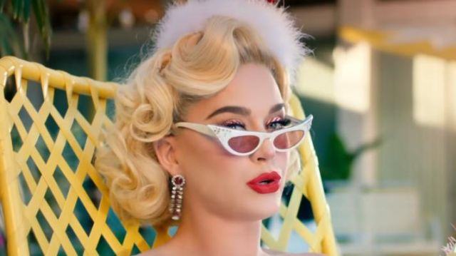 Retro Pinup Cat Eye Sunglasses worn by Katy Perry in her Cozy Little Christmas music video