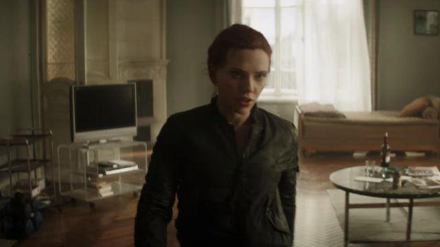 Black bomber jacket worn by Natasha Romanoff / Black Widow (Scarlett Johansson) as seen in Black Widow