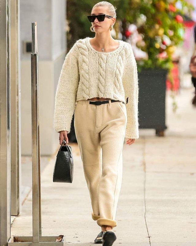 Balenciaga BB Square Toe Slippers worn by Hailey Baldwin Cbd Spa in Beverly Hills December 8, 2019