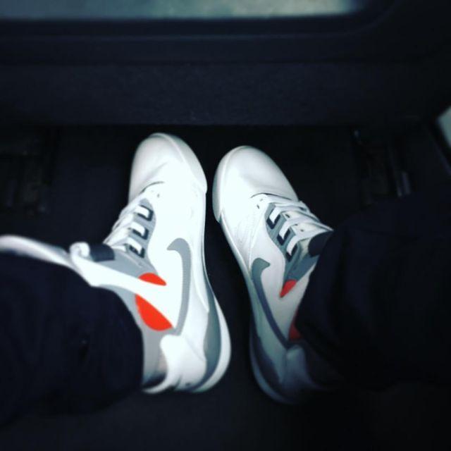 The pair of sneakers, Nike Air Pressure