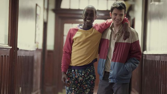 The jacket coloured worn by Otis (Asa Butterfield) in Sex Education S01E07