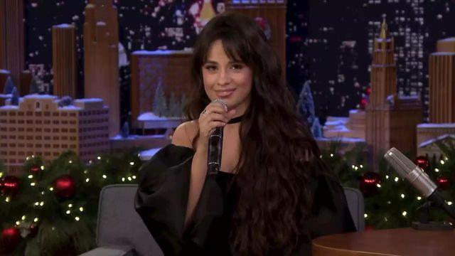 Rasario Puff Sleeve Satin and Silk Velvet Corset Mini Dress worn by Camila Cabello on The Tonight Show Starring Jimmy Fallon December 6, 2019