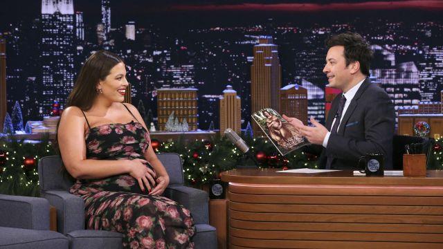 Fornarina Rose Print Organza Mesh Maxi Dress worn by Ashley Graham on The Tonight Show Starring Jimmy Fallon December 9, 2019