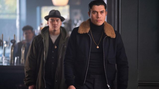 Fur collar jacket worn by Dry Eye (Henry Golding) as seen in The Gentlemen
