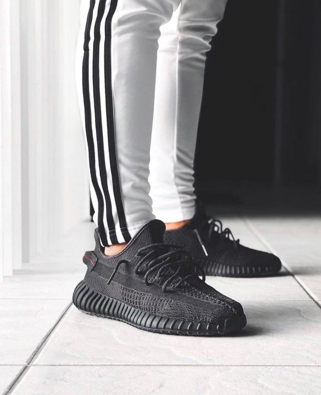 Adidas Yeezy Boost 350 V2 Static Black (Reflective) on the