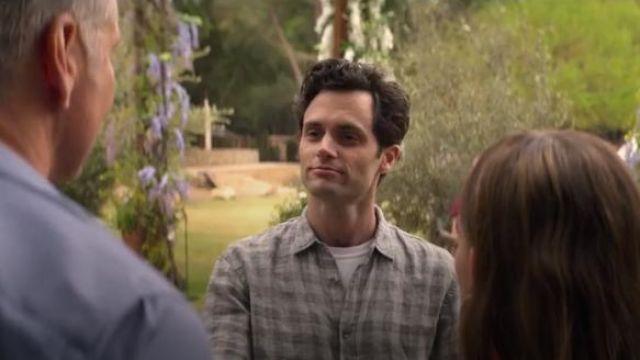 Grey gingham plaid shirt worn by Joe Goldberg (Penn Badgley) in YOU Season 2 Episode 5
