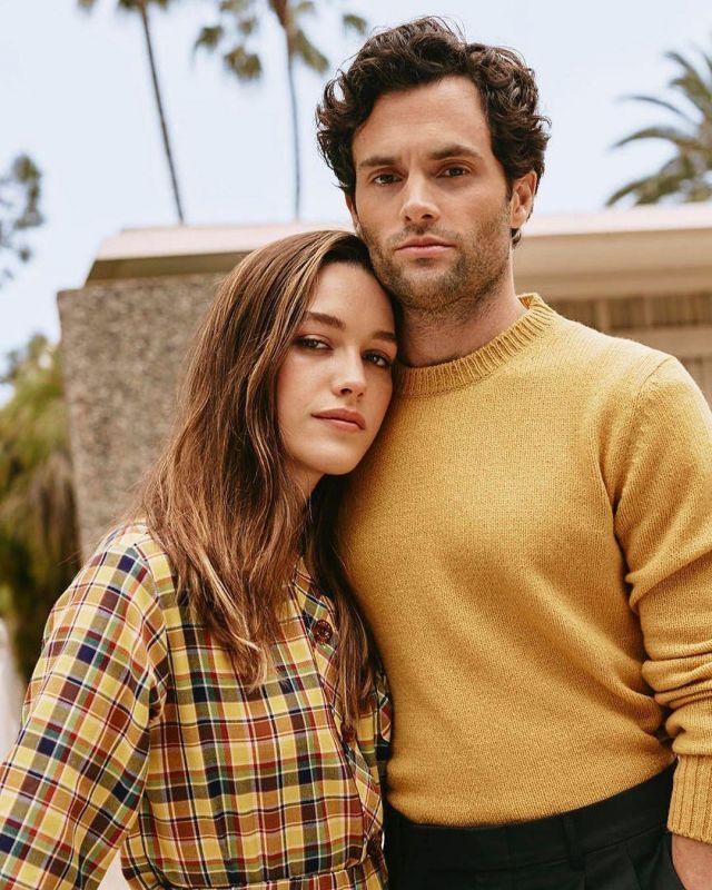 The sweater yellow Prada worn by Penn Badgley in a photoshoot