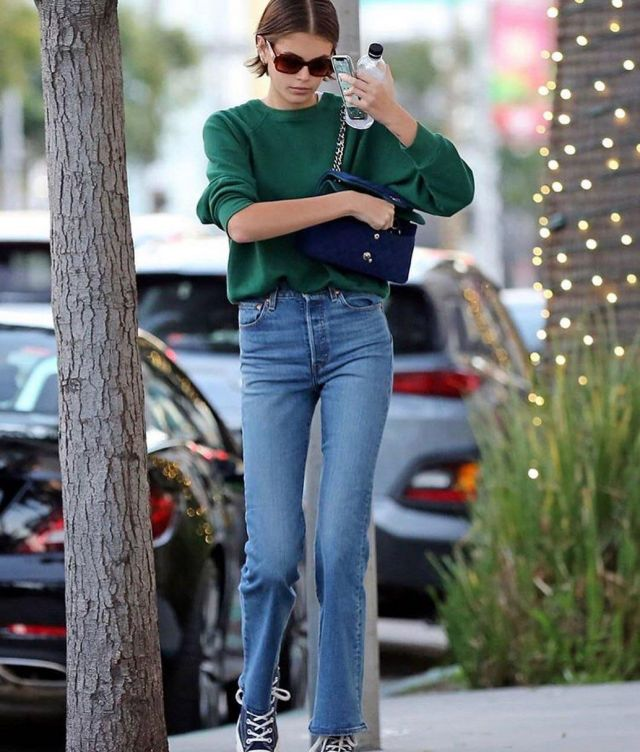 Re Done High Rise Medium Flare Jeans worn by Kaia Jordan Gerber Alfred's Coffee January 3, 2020