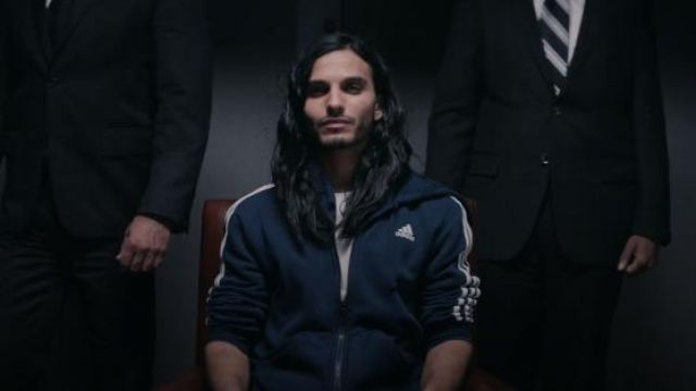 Navy Blue Zip Hoodie worn by Al-Masih (Mehdi Dehbi) in Messiah Season 1 Episode 8