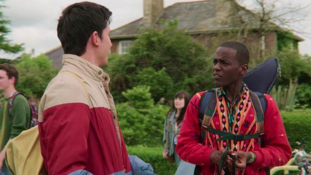 Red printed cardigan jacket worn by Eric Effoing (Ncuti Gatwa) in Sex Education (Season 2)