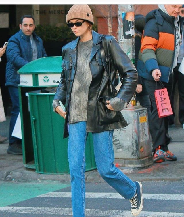 Converse All Star Sneakers in Navy worn by Kaia Gerber New