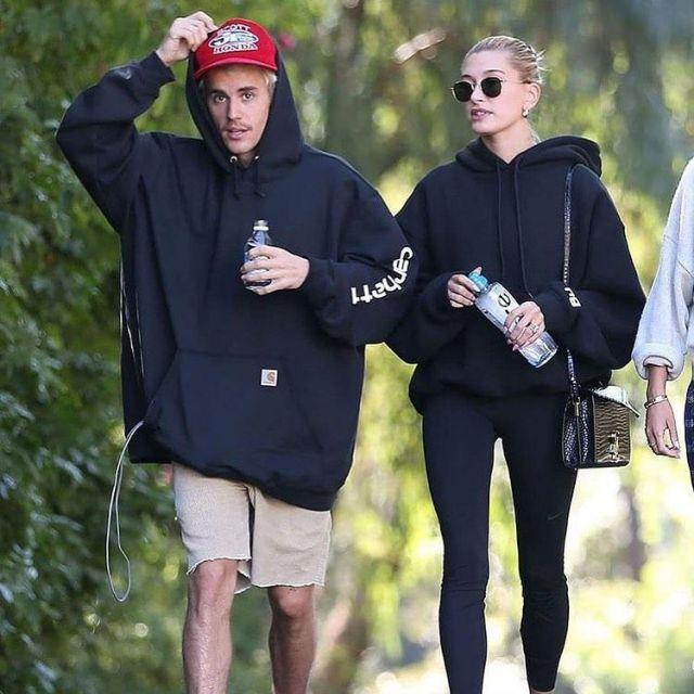 Carhartt Logo Hooded Sweat-shirt porté par Justin Bieber à Los Angeles le 12 janvier 2020