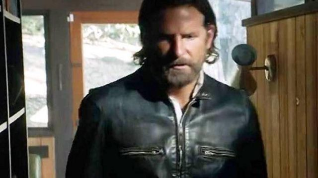 Black leather jacket worn by Jack (Bradley Cooper) as seen in A Star Is Born