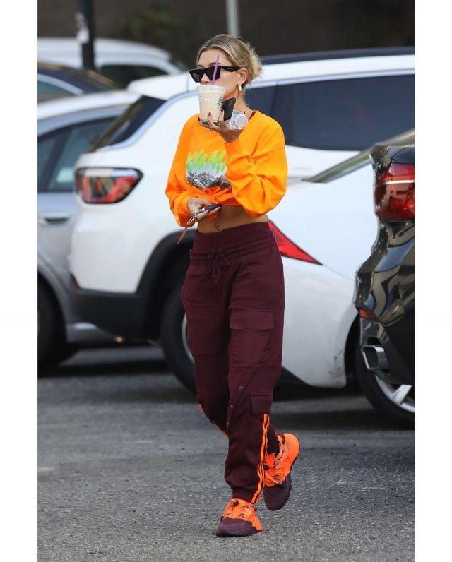 Kanye west Orange Long Sleeve Tshirt of Hailey Baldwin on the Instagram account @haileybieber January 16, 2020