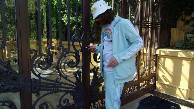 Le jogging bleu turquoise porté par Lorenzo dans la vidéo Lorenzo ft. Charles Vicomte - Champagne & Pétou