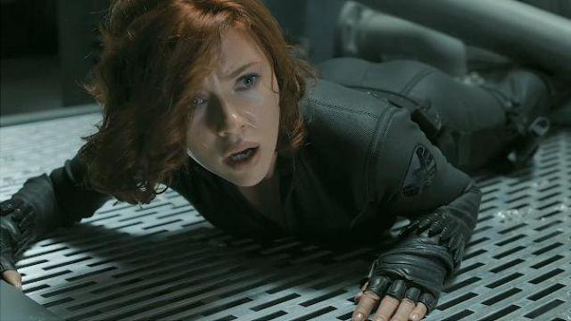 The costume of Natasha Romanoffs / Black Widow (Scarlett Johansson) in the Avengers