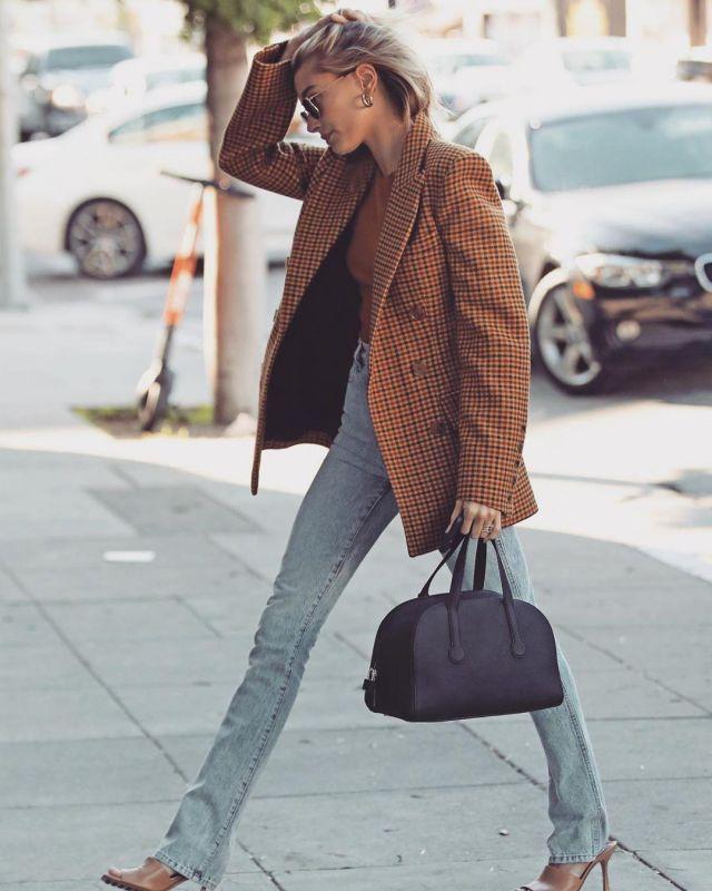 Khaite Darla Checked Wool Blazer worn by Hailey Baldwin Los Angeles January 23, 2020