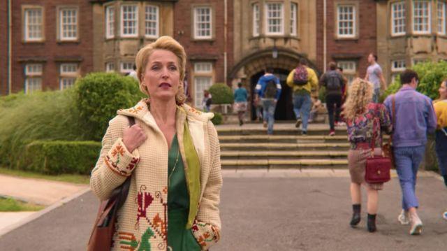 Cardigan of Jean Milburn (Gillian Anderson) in Sex Education (S02E03)