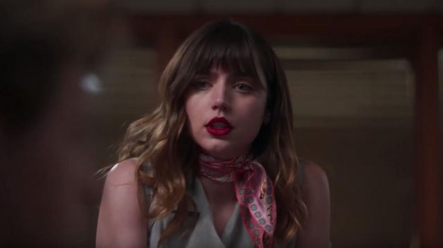 Pink scarf worn by Andrea (Ana de Armas) in The Night Clerk