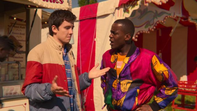 The bomber multicolor Picasso Eric Effiong (Ncuti Gatwa) in Sex Education (S02E02)