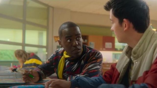 Black Tiger Embroidered Sweater worn by Eric Effiong (Ncuti Gatwa) in Sex Education Season 2 Episode 3