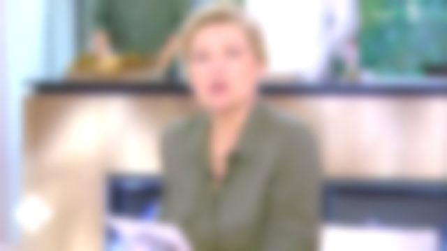 La chemise fluide style militaire kaki de Anne-Élisabeth Lemoine dans C à vous le 29.01.2020