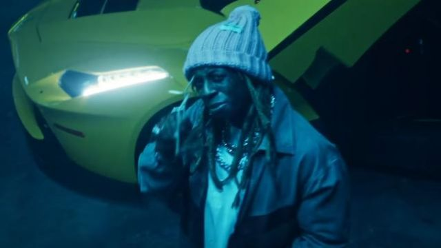 """Gucci Pink Pompom-embellished ribbed wool beanie of Lil Wayne in the music video Travis Barker - """"Gimme Brain"""" feat. Lil Wayne & Rick Ross (Official Music Video - WSHH Exclusive)"""