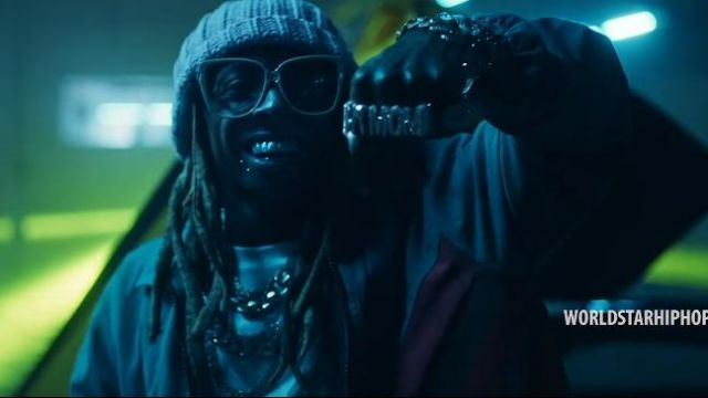 """Gucci Green oversized Web jacket of Lil Wayne in the music video Travis Barker - """"Gimme Brain"""" feat. Lil Wayne & Rick Ross (Official Music Video - WSHH Exclusive)"""