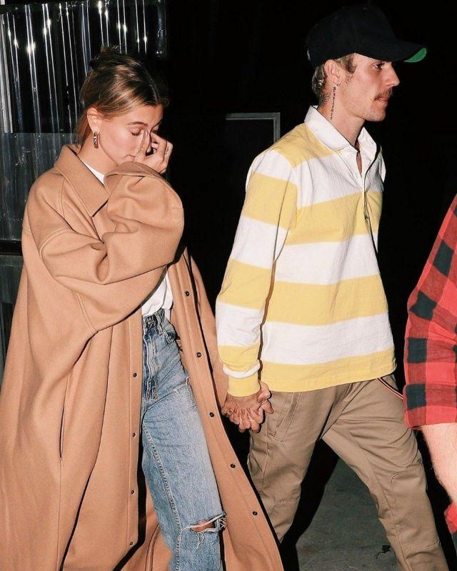 Ksubi Kendall Jenner Playback Distressed High Rise Straight Leg Jeans worn by Hailey Baldwin Leaving Church January 29, 2020