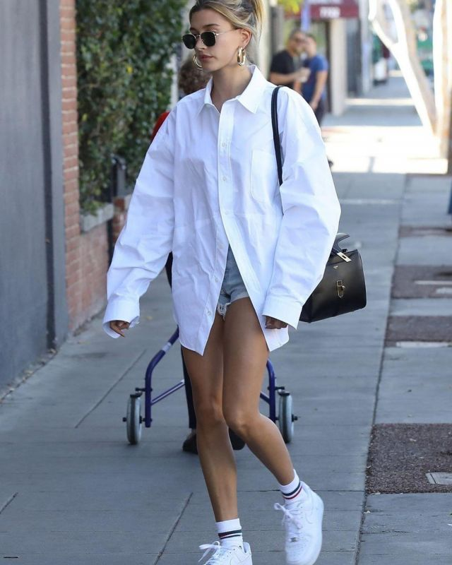 Celine Small Bag in Satinated Calfskin worn by Hailey Baldwin West Hollywood February 1, 2020