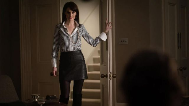 Jupe noire en cuir portés par Rosalind Pearson (Michelle Dockery) comme on le voit dans L'Messieurs