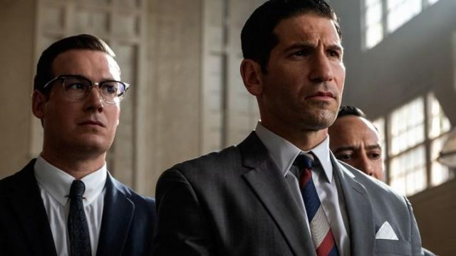 Blue white and Red Tie worn by Lee Iacocca (Jon Bernthal) as seen in Ford v Ferrari