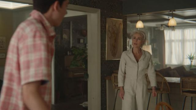 Gray utility jumpsuit worn by Jean Milburn (Gillian Anderson) in Sex Education (S01E08)